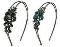 Bella Set  4 Crystal Flower Wire Metal Headbands  Hair Bands 4 Colors YY801-3-4