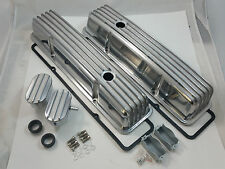 Nostalgic SB Chevy SBC Tall Polished Finned Valve Cover Kit W/ Breathers 58-86