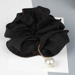 Fashion Ladies Big Flower with Pearl Scrunchie Hair Rope Ties Ponytail HAIRBANDS