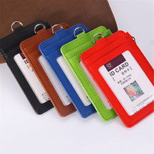 Office Student Nurse Leather ID Badge Zipper Holder Card Holder with Neck Strap