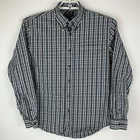 GH Bass Mens Medium Shirt Button Up Front Gray Blue White Plaid Long Sleeve