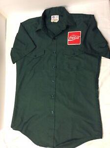 "Vintage Coca Cola Coke Uniform Delivery Shirt 15 1/2"" Neck Green SS Short Hip M"