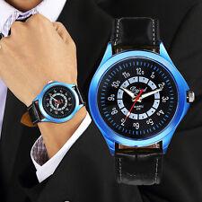 Men`s Quality Dgjud Quartz Iridescent Blue Case Black Leather Band Wrist Watch.