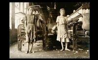 1911 Barefoot Girls Cotton Mill PHOTO Children Child Labor Factory Workers