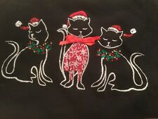 Karen Scott Christmas Cat Embellished Rhinestone  Top Shirt Plus 1x not ugly NWT