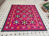 BIG RED Silk Suzani wall hanging Vintage Uzbek silk handmade embroidery bedding