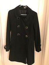 H&M Long Black Peacoat Big Buttons Size 4 Small