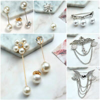 Women Fashion Crystal Flower Pearl Brooch Pin Bride Wedding Bouquet Jewelry Gift