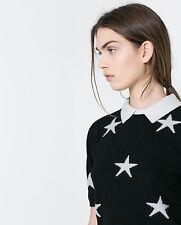 NWT ZARA ANGORA BLEND BLACK WHITE STAR PRINT JUMPER SWEATER TOP M MEDIUM 8 4 36