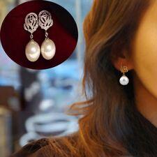 1pair Women Fashion Elegant Rose Flower  Pearl Crystal Rhinestone  Earrings