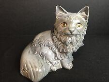 Goebel Sitting Pretty Gray Long Hair Cat Figurine West Germany Large 6�