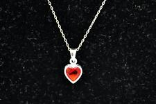 "with Red Crystal Heart Pendant 16"" Jezlaine Sterling Silver Necklace"