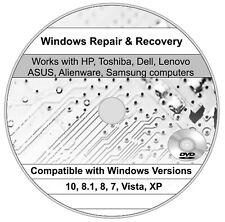 HP Windows 10 8 7 Vista XP Recovery Repair DiskBoot Restore CD DVD Recover