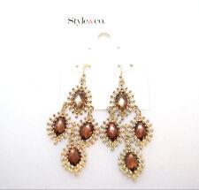 Style & Co. Gold Tone Brown Drop Dangle Earrings