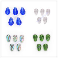 10/20pcs Jewelry Glass Crystal Teardrop Spacer Beads Charms Findings 18x12mm