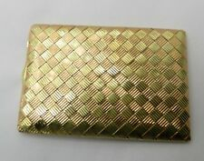 Pink and Green Gold Woven Pattern on this Vintage Solid 14k Cigarette Case