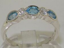 Topaz Band Oval Sterling Silver Fine Gemstone Rings