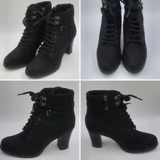 Geox Respira Size 6 39 Black Suede Boots Heeled Lace Up Ankle Biker Womens