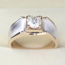 7 MM 1.30CT Solitaire White Moissanite Engagement Two Tone Men's Ring 925 Silver