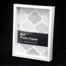 "2 Pcs White High Class Plastic Box Photo Frame Memories 6"" x 8"" 130 x 180mm"