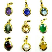 Natural Pendant Gold Plated Gemstone Necklace 2,3,4,5,6,7 Carat Fashion Jewelry