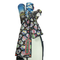 Sugar Skulls Golf Towel - large colourful microfibre golf bag towel 96cm x 52cm
