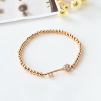 18K Rose Gold Filled 4mm Ball Beads CRYSTAL Love Heart Key Charm Bracelet Bangle