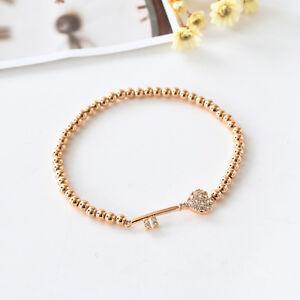 18K Rose Gold Filled 4mm Ball Beads CRYSTAL Love Heart Key Charm Bracelet Bangle