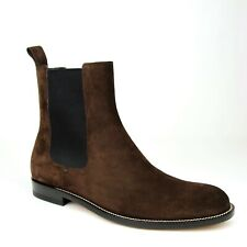 Gucci Men's Dark Brown Suede Pull Up Chelsea Boot with Elastic Sides 256346 2145