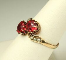 1900s BELLE EPOQUE Era 12k GOLD Ring~Possible RUBIES CLAW Set~Genuine PEARLS~Sz7