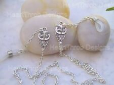 Gorgeous Silver Finish Owl Spectacle Glasses Chain Cord Lanyard Holder Free P&P