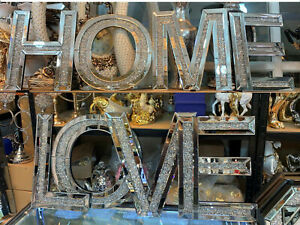 LARGE Diamond Crush Sparkly Silver Mirrored LOVE HOME Decorative Wall Hanging