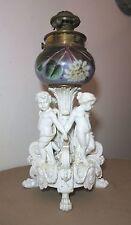 RARE large antique ornate figural cherub porcelain brass glass electric oil lamp
