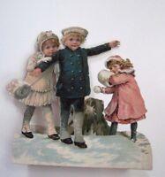 Adorable Vintage Winter Mechanical Die Cut w/Sweet Girls, Boy, Puppy & Snowball*