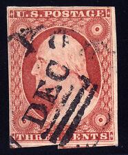 #10A - 3 Cent 1851-57, Top Row, Guide Dot, black New York 3 Bar DEC-dated CDS