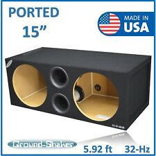 "15"" Dual Ported / Vented SPL Sub box Subwoofer Enclosure Ground-shaker 15"" box"