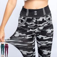 Women Camouflage Skinny Leggings Stretch Jean Jeggings Slim Fit Denim Trousers