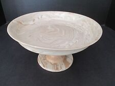 EBRU Light Beige CERAMIC MARBLE COOKIE CAKE PASTRY STAND ~ Hand Made ~ NEW