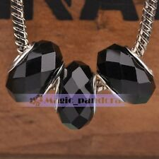 10pcs Faceted Big Hole Lampwork Glass Beads Fit European Murano Charm Bracelet