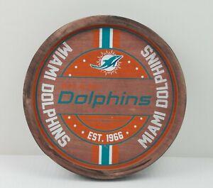 "NWT Miami Dolphins Wooden Man Cave Sign Decor 12"" Circular Wall Hanging"