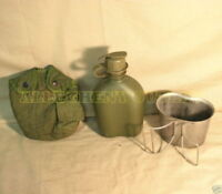 US Military 3 Piece 1 QT OD CANTEEN SET w NEW CANTEEN + NBC CAP + COVER + CUP