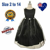 New Ivory & Black Flower Girl Dress Formal Wedding Party Girls Dress Size 2 to14