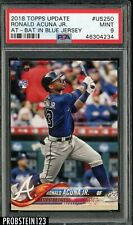 2018 Topps Update #US250 Ronald Acuna Jr. At-Bat In Blue Jersey RC Rookie PSA 9