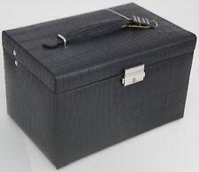 Klassischer Schmuckkasten Schmuckkoffer Schmucktruhe schwarzes Leder