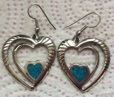 Hallmark Dangle Earrings Wire Vintage Silver Turquoise Heart Signed