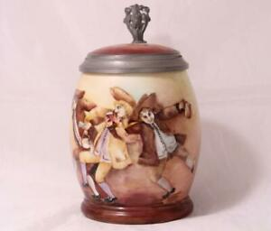 Antique Porcelain Beer Stein Hand Painted American Artist Alice L.Coe c.1900