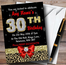 Red Diamond And Leopard Print 30Th Birthday Party Personalised Invitations