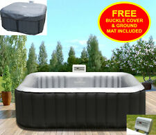 Heated Hot Tub Jacuzzi Spa Outdoor Garden Inflatable Pool Square 4 Seater Person