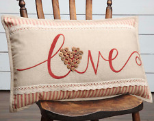 LOVE PILLOW :  COUNTRY BUTTON HEART RED STRIPE LACE EMBROIDERED VALENTINE OZARK