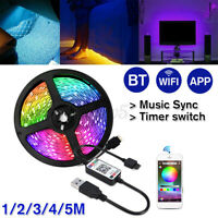 1-5M 3528 RGB 5V LED Strip Lights USB Power TV Backlight bluetooth APP Remote